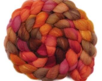 Hand painted combed top roving - Silk / Shetland wool 30/70% spinning fiber - 4.1 ounces -San Antonio Rose 1