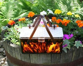 Vintage Acrylic Lucite Purse Tortoise Shell Box
