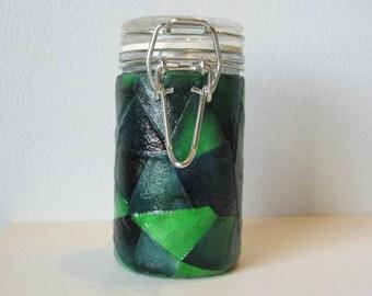 Small Glass Stash Jar : Latch Top Jar - Green Patchwork Collage