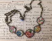 """Tin Jewelry Necklace """"Full Bloom"""" Tin for the Ten Year Tenth Wedding Anniversary"""