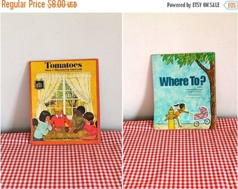 "20% off SALE vintage 1973 ""Where To?"" // ""Tomatoes"" 2-in-1 reversible book"