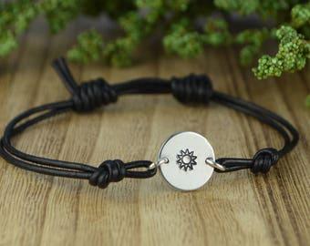 Sun Leather Adjustable Bracelet- Hand Stamped Sterling Silver Filled Bracelet- Black or Brown Leather