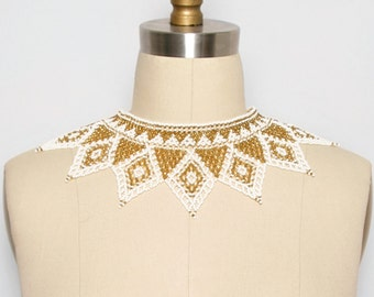Beaded Collar. Bib Necklace. Statement Necklace. Beaded Jewelry. Collar Necklace. Festival Jewelry. Gold and White. Choker. Holiday Necklace
