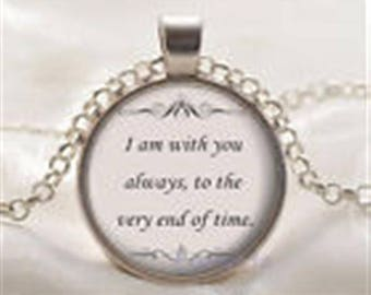 Vintage Style Cabochon Glass Necklace I am With You Always Until the End of Time