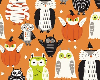 Eyes of Newt Owls on Orange from Blend Fabric's Boo Crew Collection by Maude Asbury - Pet Halloween Costume