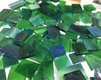 100 RAINFOREST COLORS Odd Size Tiles Stained Glass Mosaic Supply B35