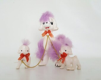 Vintage Poodle Figurine Mother Poodle With Puppies Vintage Handpainted White Poodles Mother Dog With 2 Matching Puppies Poodles With Bows