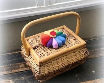 SANTA SALE Vintage Rattan Sewing Basket - Cute Pin Cushion Topknot - Red Chinz Lining
