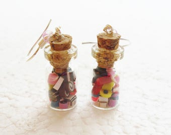 Jar of Sweets Candy Earrings. Polymer Clay