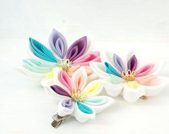 Trio of Pastel Rainbow Hair Flowers - Rainbow Wedding Bridal Headpiece -