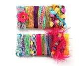 2 Fiber Bundles in Rainbow Colors - Bright Pastel Novelty Yarn - for DIY Fiber Scarf, Felting, Collage, Soft Sculpture, Mixed Media - C19A