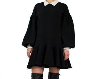 Black sweater dress/ Little black dress/ Mini jumper dress/Collared dress/ Black tunic dress/ Long sleeve dress/ Loose fit dress - AM COLLAR