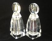 "Wayne Husted for Grainware Sculptural 8"" Tall Lucite Salt & Pepper Grinder Peppermill Pair"