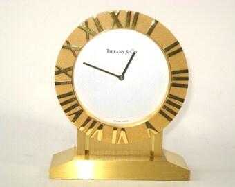 Tiffany & Co ATLAS Desk Mantle Clock Swiss Made - Quartz Movement in Brass Case -Rare