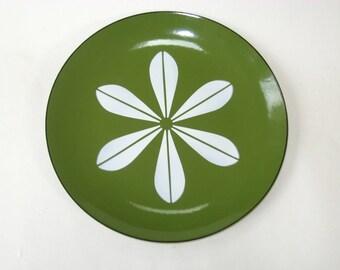 "Cathrineholm Norway Green Lotus Enamel 10.25"" Dinner Plate EUC - Mid Century Modern"