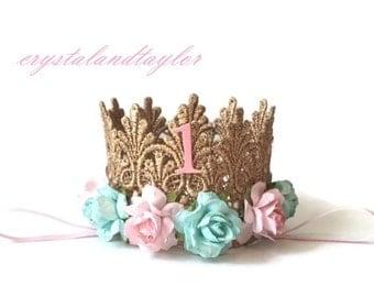 Gold Crown, Birthday Crown, Aqua and Light Pink Flowers, Birthday Girl, Birthday Hat, Pink Crown, Photo Prop, Cake Smash