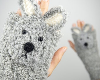 Rabbit / Bunny Fingerless Gloves (Grey) ~ Handmade