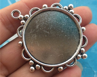 10pc 47.5x43mm Antiqued Silver cabochon/cameo(30mm) round base setting pendants