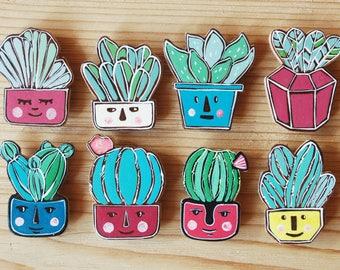 Cactus pin, cactus brooch , cactus gift , best friend gift , gift for friend , house plant , gift for her