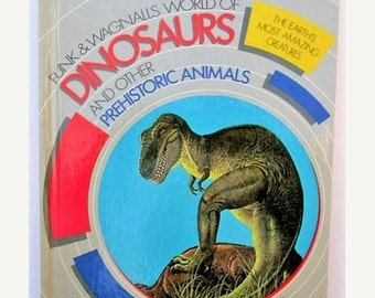 HOLIDAY SALE 20% Off Vintage Funk & Wagnalls World of Dinosaurs And Other Prehistoric Animals, 1980s Children's Book