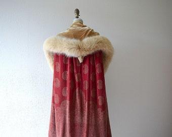 1920s silk velvet cape . vintage 20s stenciled velvet cape