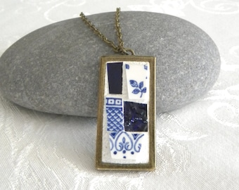 Mosaic Pendant - Shades of Blue Jewelry Necklace - Broken China - Stained Glass