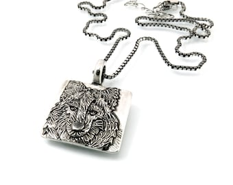 Sterling Silver, Wolf Pendant, Wolf Head Pendant, Wolf Jewelry, Wolf Totem, Totem Wolf, Wolf Totem Jewelry, Wolf Necklace, Gray Wolf, 1250