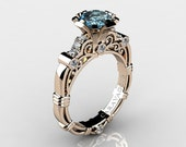 Art Masters Caravaggio 14K Rose Gold 1.0 Ct Aquamarine Diamond Engagement Ring R623-14KRGDAQ