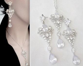 Crystal jewelry set ~ Brides jewelry set ~ Wedding jewelry set ~ Fleur de lis ~ Vintage style jewelry set ~ French, Royals