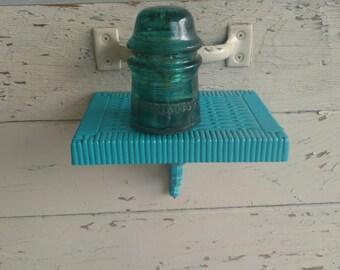 Vintage Peacock Blue Wicker Like Shelf - Handpainted in Turquoise, Vintage Sale + Clearance, Bathroom Shelf, Bedroom Shelf, Aqua Home Decor
