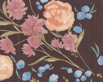 Nani Iro double gauze fabric, Fuccra Rakuen in Yunagi, mocha-maroon, by the yard
