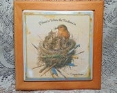 Vintage Marjolein Bastin Bluebird and Babies Tile in Frame So pretty