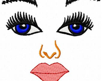 Doll Face Embroidery Design - Instant Download