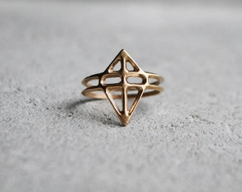 RUUTI Ring -  hand formed cast in Bronze / Sterling Silver / Dark ox Silver, unique design Wild & Arrow