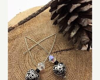 SALE Heart Shaped Silver Filigree Bead with Swarovski Crystal Earrings