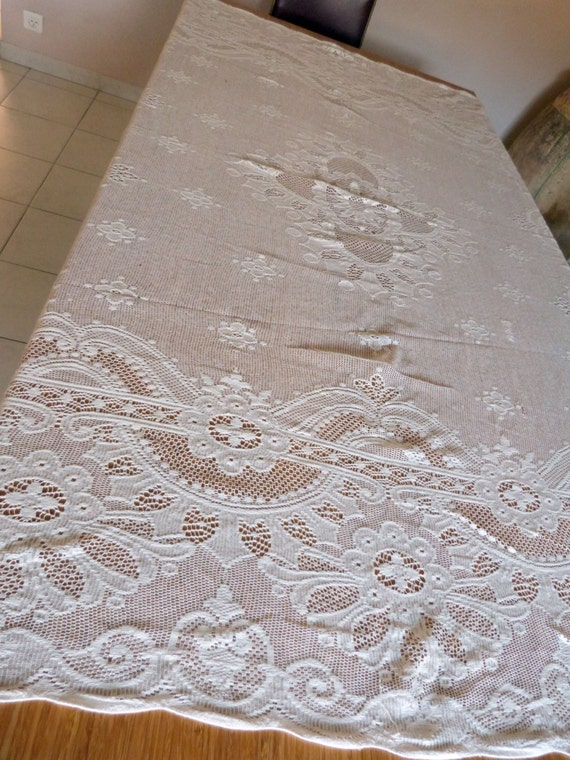 large antique french lace tablecloth white lace table cloth or