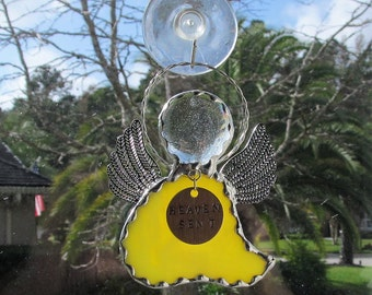 Yellow Swirl Opalescent Glass Stained Glass Angel Ornament/Suncatcher/Gift Tag - Personalized Hand Stamped Tags now Available