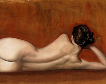 Curves 11 : Pastels on Paper, 23x31, Reclining naked woman by red gold