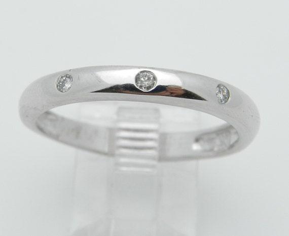Mens White Gold Diamond Wedding Ring Three Stone Anniversary Band Size 11