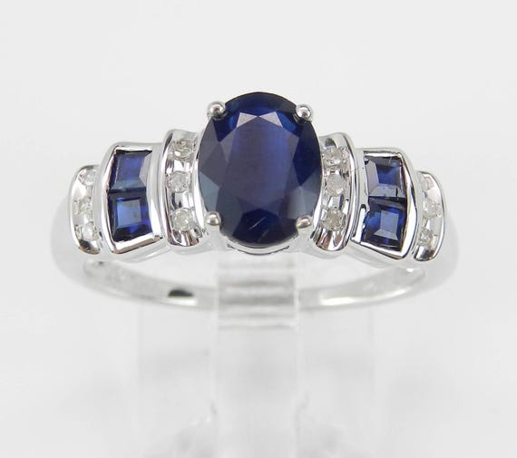 White Gold Diamond and Sapphire Engagement Ring Promise Ring Size 8