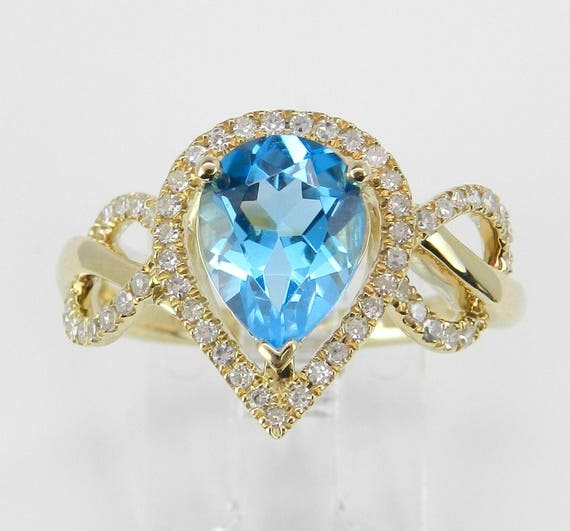 14K Yellow Gold Diamond and Pear Blue Topaz Halo Engagement Promise Ring Size 7