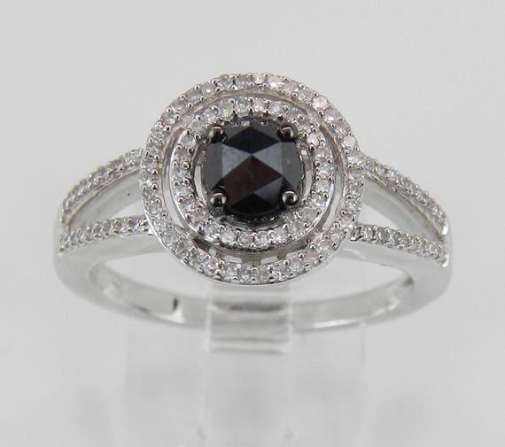 White Gold Black Diamond Double Halo Engagement Ring Size 7