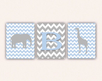 Chevron Elephant Monogram and Giraffe Print Set - Baby Blue and Gray Wall Art - Zoo or Jungle Nursery Art (5005)