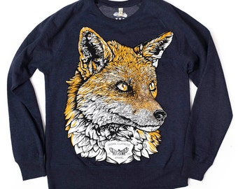 Fox sweatshirt animal fox jumper sweater organic jumper men's jumper unisex jumper skate wear urban apparel streetwear original design
