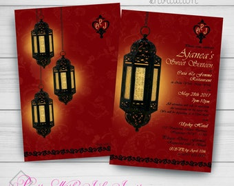 Birthday, Sweet 16, Wedding, Shower Invitations. Morroccan,Lantern, Arabic,Bar Mitzvah,Indian, black,Red, Digital or Printed Available