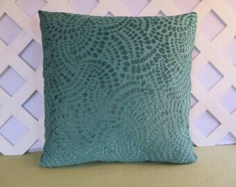 Teal Blue Pillow Cover w/ Raised Chenille Dots / Aqua Pillow / Turquoise Pillow / Decorative Pillow / Accent Pillow / 18 x 18 Pillow