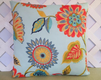 Floral Outdoor Pillow Cover in Blue Orange Yellow Green / Floral Pillow / Blue Pillow / Patio Pillow / Accent Pillow / 18 x 18 Pillow