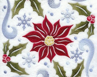 Winter Poinsettia Square Embroidered on Kona Cotton Quilt Block // Plain Weave Cotton Dish Towel // Also Available on Other Items
