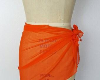 Hot Orange Sheer Cover Up - 34