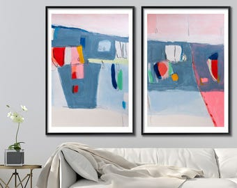 Large abstract print, Geometric art, Large Wall Art Giclee, Large Abstract Art, Blue Painting, Pink Mid century modern
